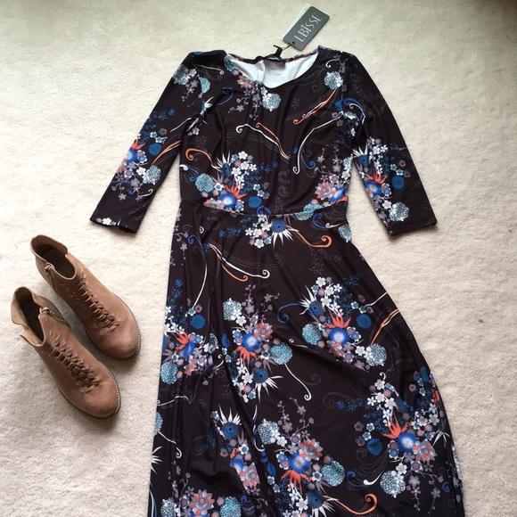 1fea12cecad6 LBisse Dresses   Black And Blue Floral Midi Dress Nwt   Poshmark